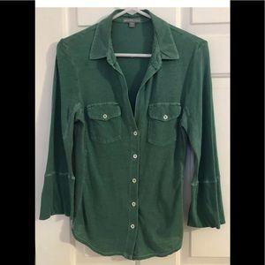 James Perse Size 2/Medium Green Cotton Shirt